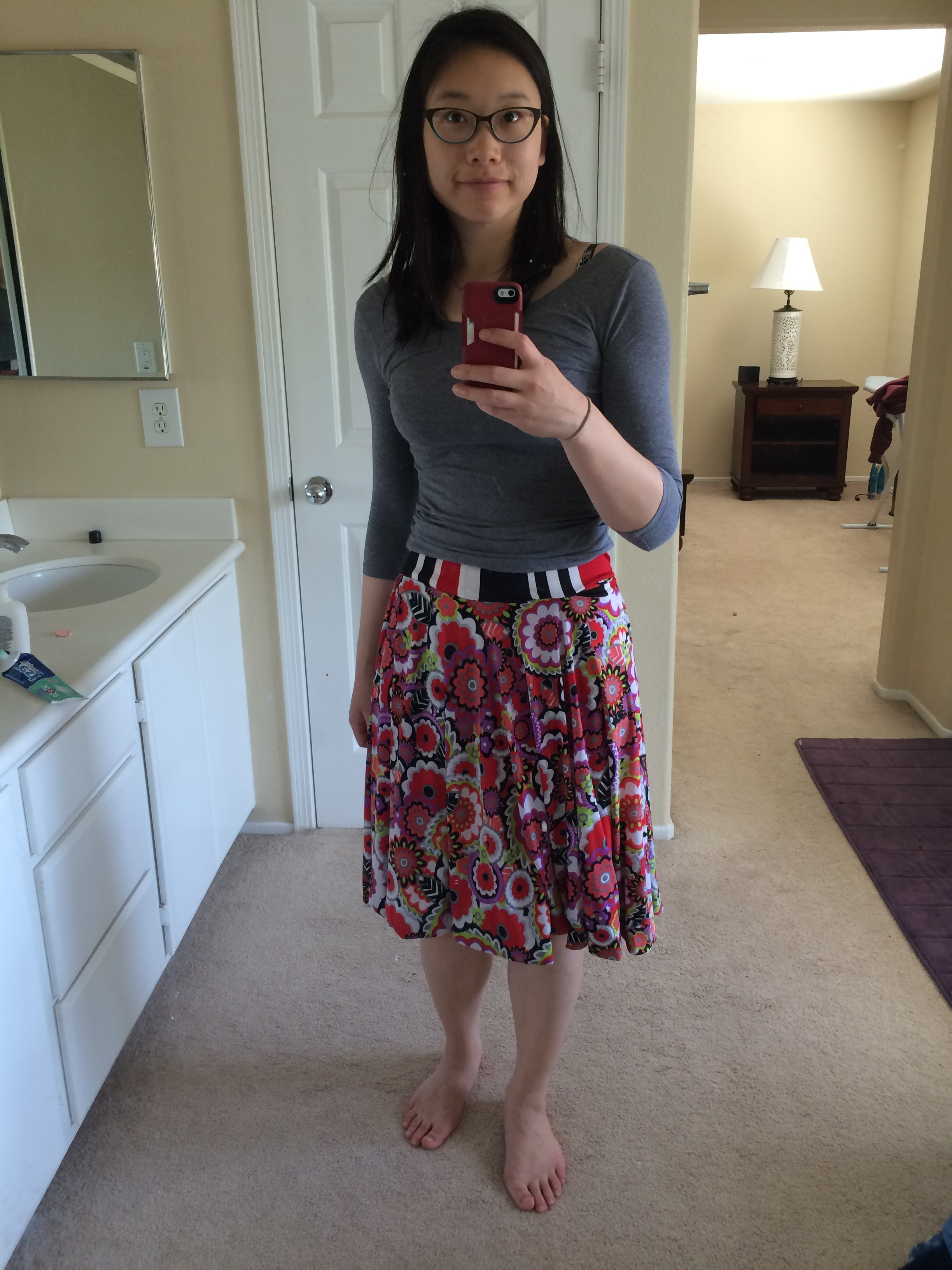 Floral side of the skirt with contrasting waistband