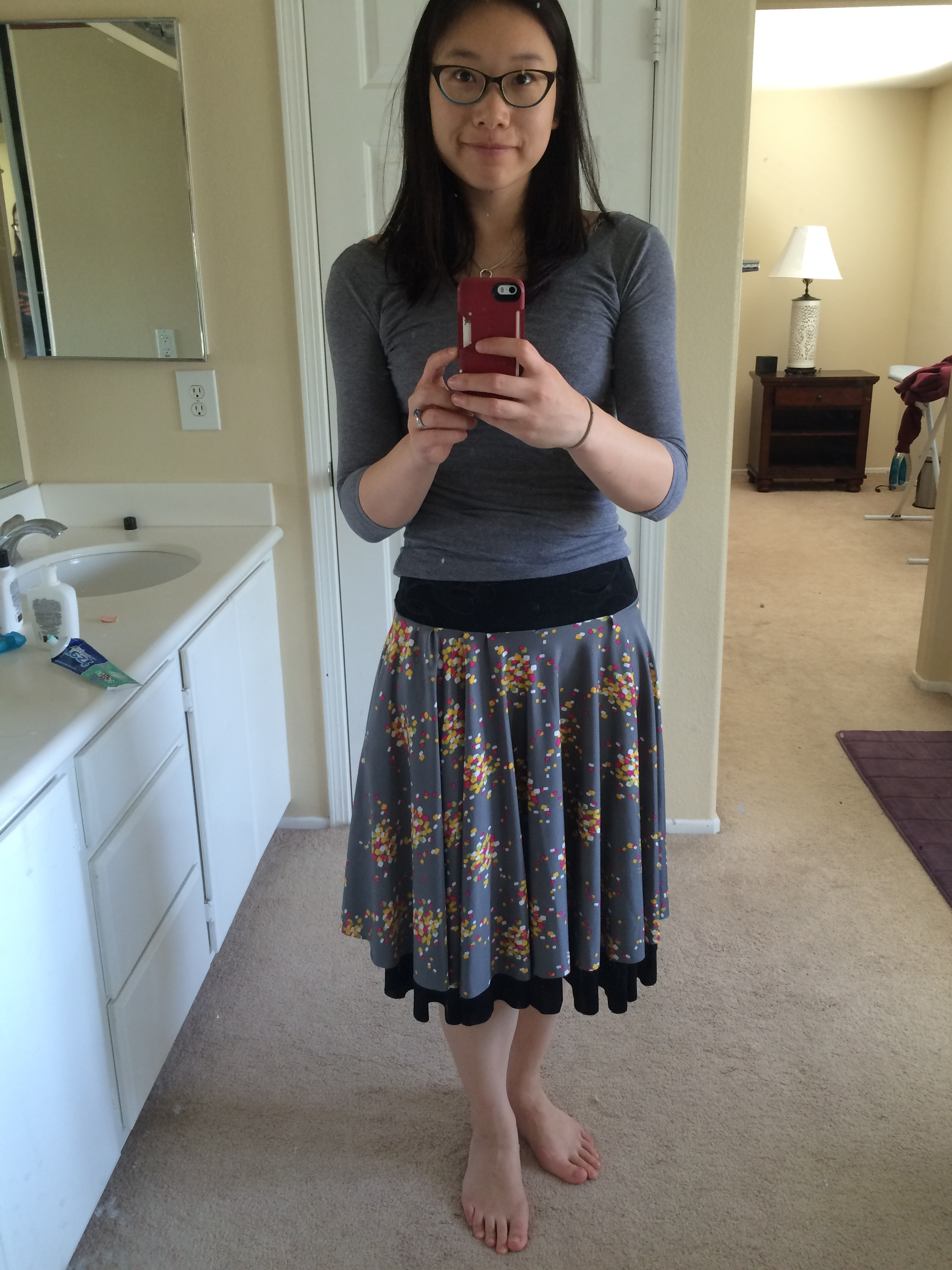My second reversible skirt with pockets! Gray with confetti on one side, black floral on the reverse side. If you wear it a certain way, it looks like a 2 tiered skirt! I think it's a cool effect that wasn't exactly intentional, but I like it better this way.