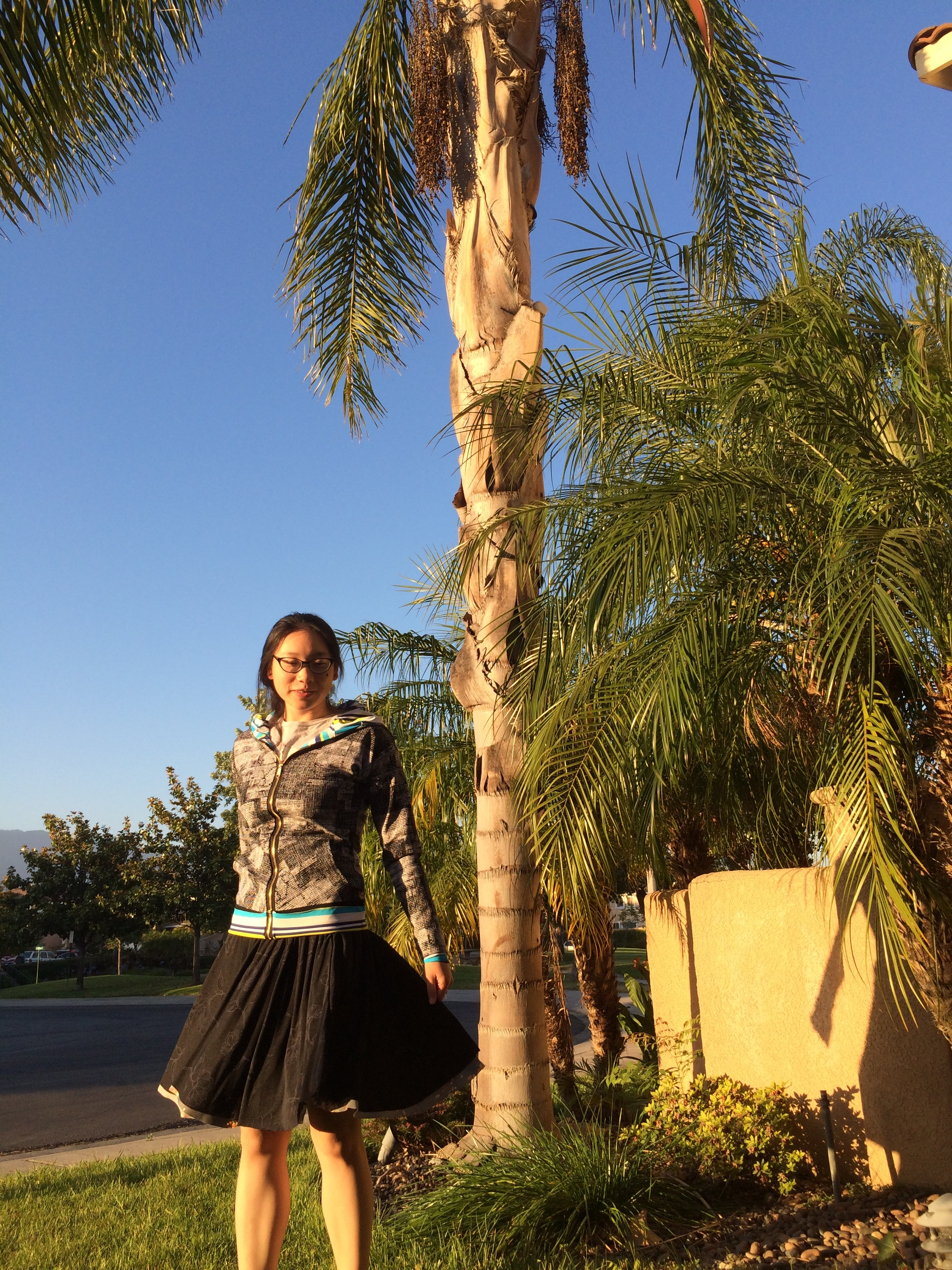 Twirling with my skirt at sunset