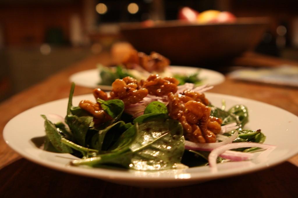 Baby Spinach, Oregonzola Blue, and Candied Walnut Salad