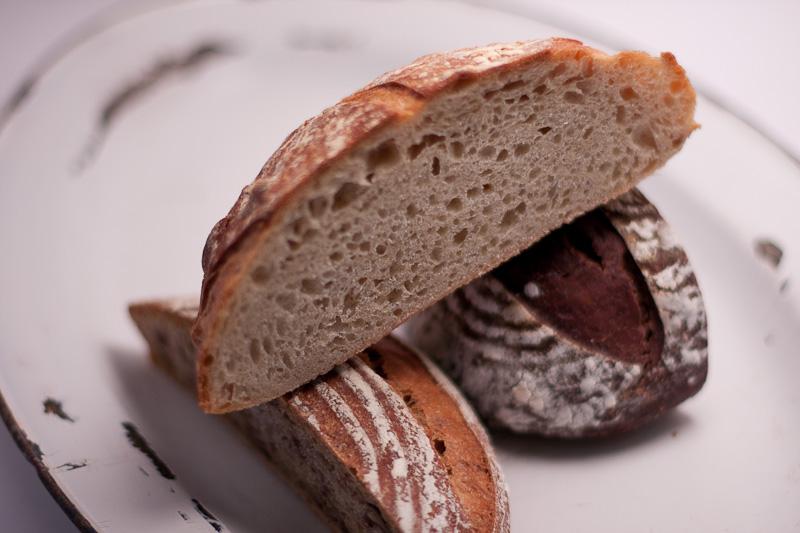 Clockwise from left: Walnut Wheat Levain, Basic Sourdough Boule, Chocolate Sourdough