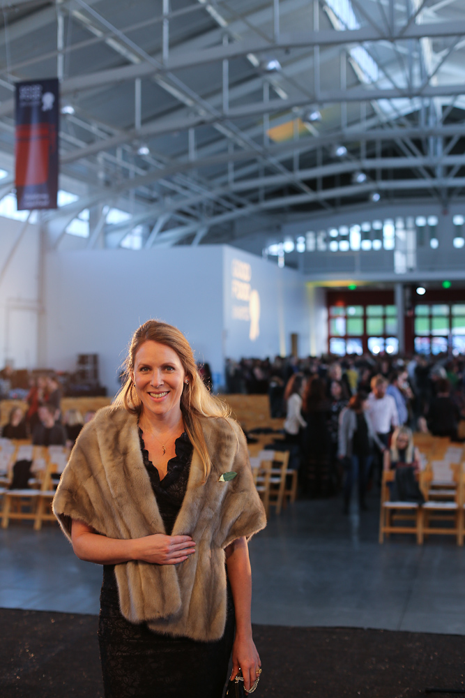 Audra wearing her grandmother's stole at the Good Food Awards