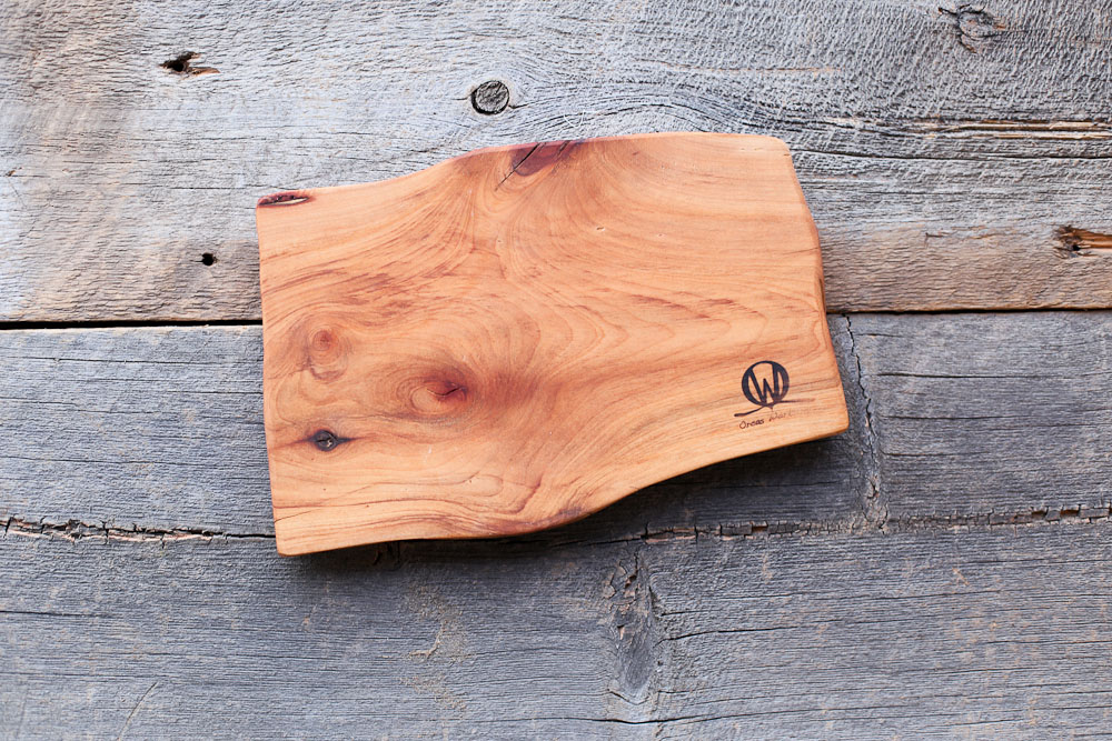 A handmade Orcas Workshop Cheese Board for serving up Valentine's night in.