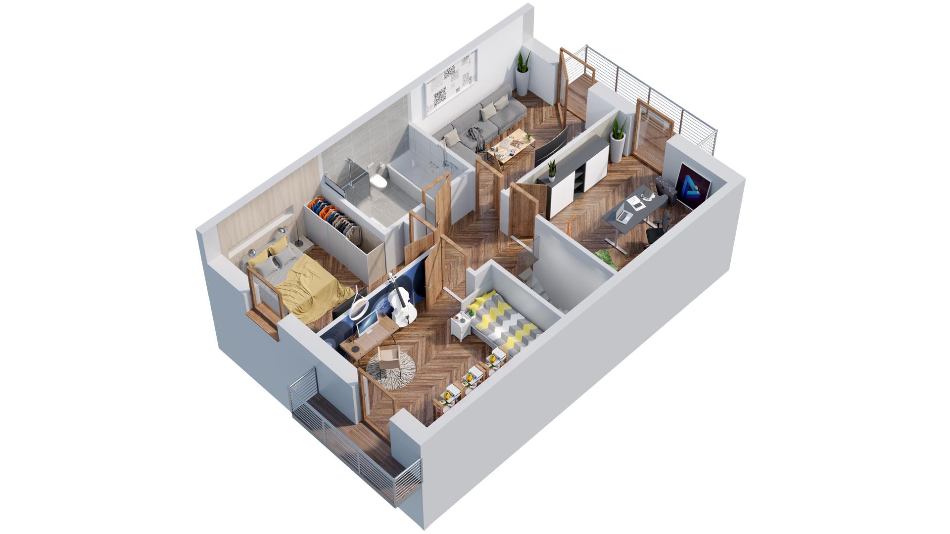 Ekodom-Wizualizacja mieszkania. Przekroje architektoniczne, rzuty 3D