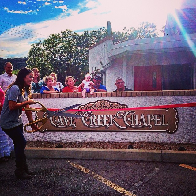 Cave Creek Chapel ribbon Cutting on 8-21-2014. Open for Business! #cavecreekchapel #cavecreek #chapel #wedding #weddingvenue #desertwedding #renewvows #engagement #ribboncutting #church #quaint #whitechapel #vows #bride #groom