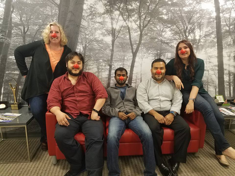 Hanging out in the lobby on National Red Nose Day...