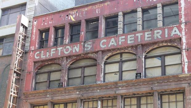 "Historic core  Clifton's Cafeteria, where both Walt Disney and U.S. author Charles Bukowski used to dine in ""themed"" rooms, will soon reopen as a nightclub and eatery."