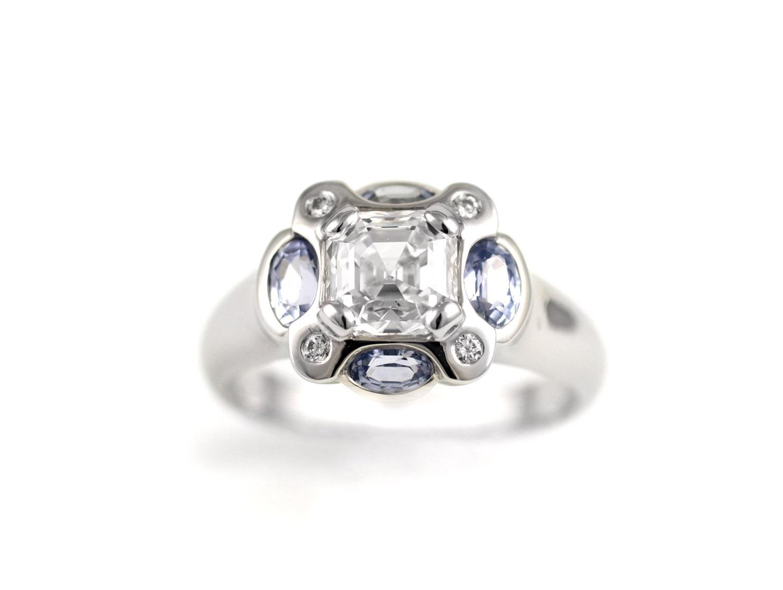 Diamond and Sapphire Bezel Ring