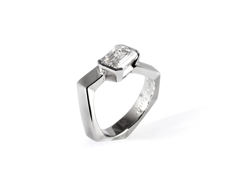 Modern Emerald Cut Ring