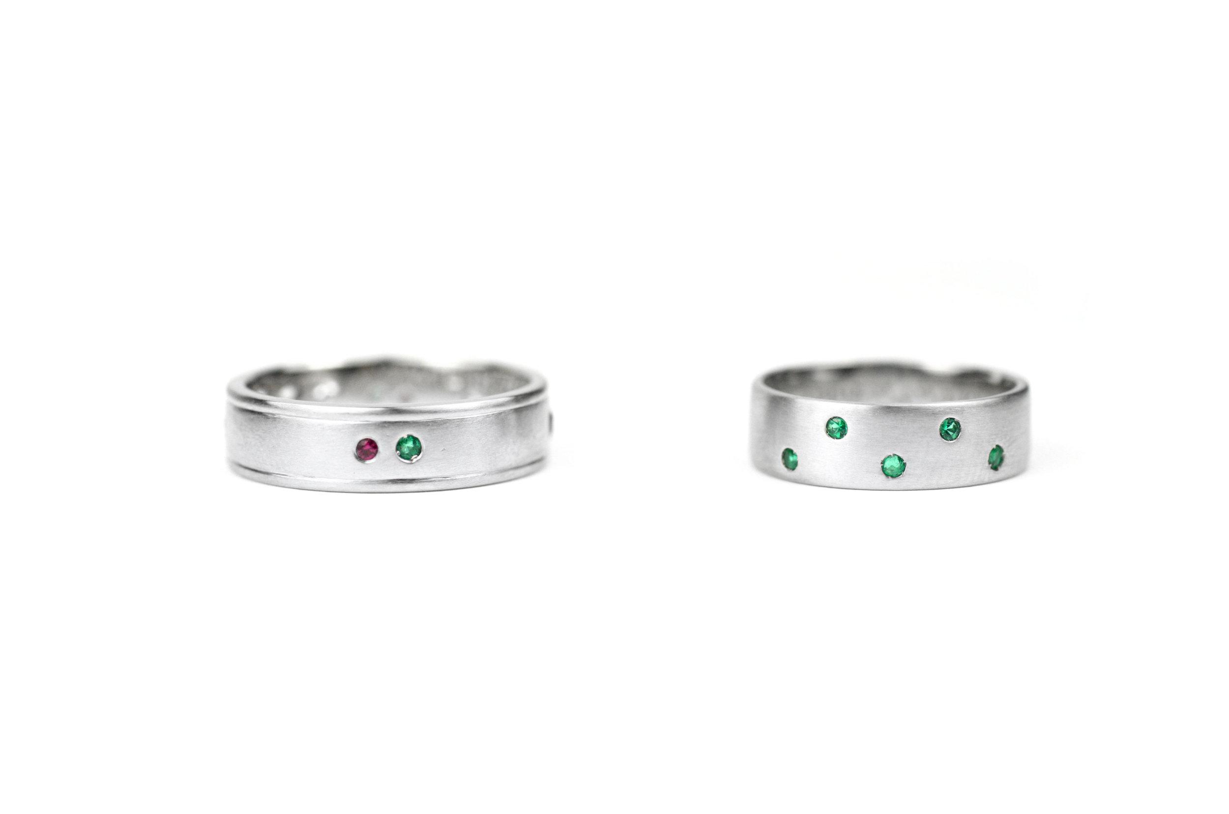 Platinum and Emerald Bands