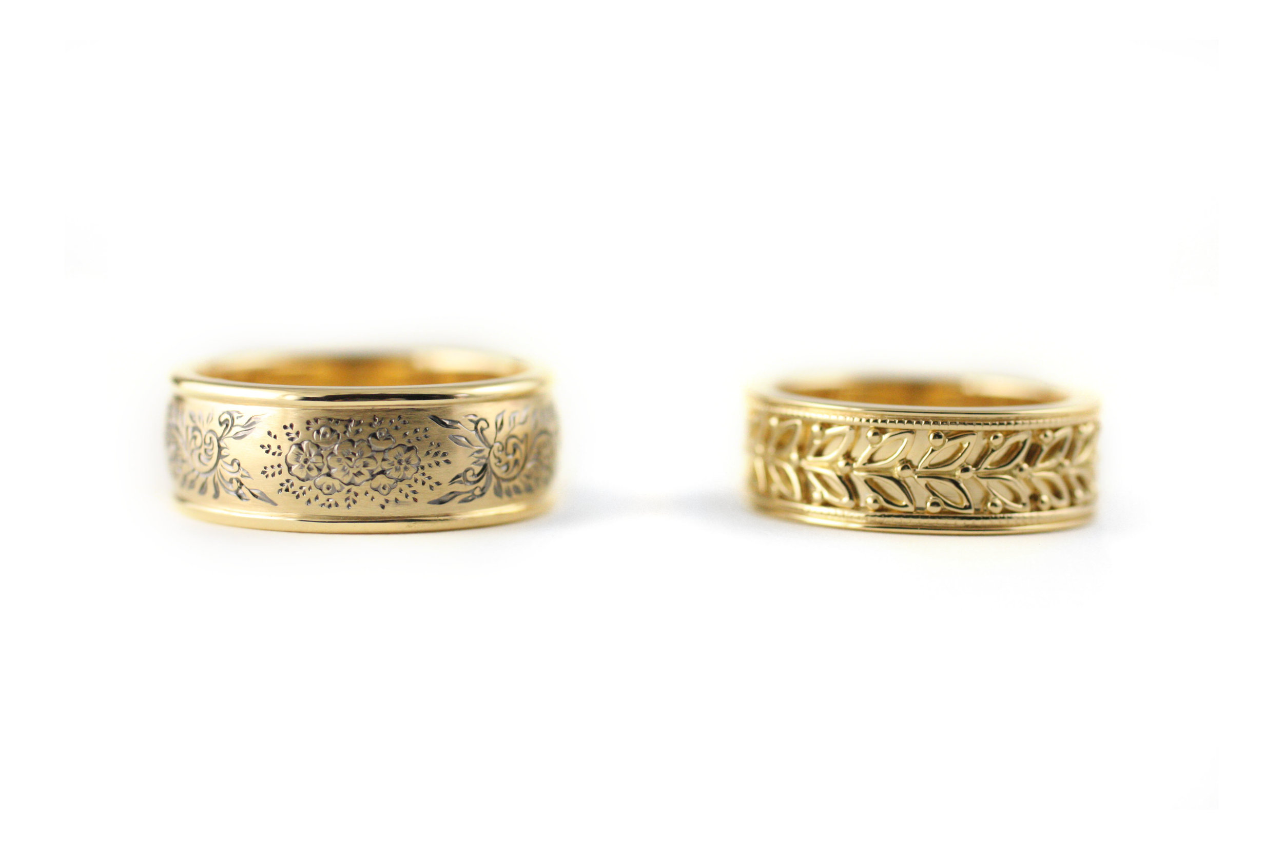 Engraved Band and Leaf Band