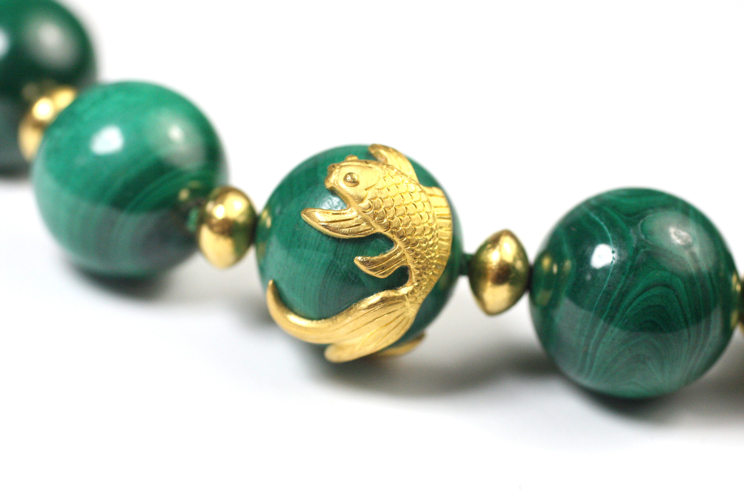 Malachite Animal Necklace Close Up