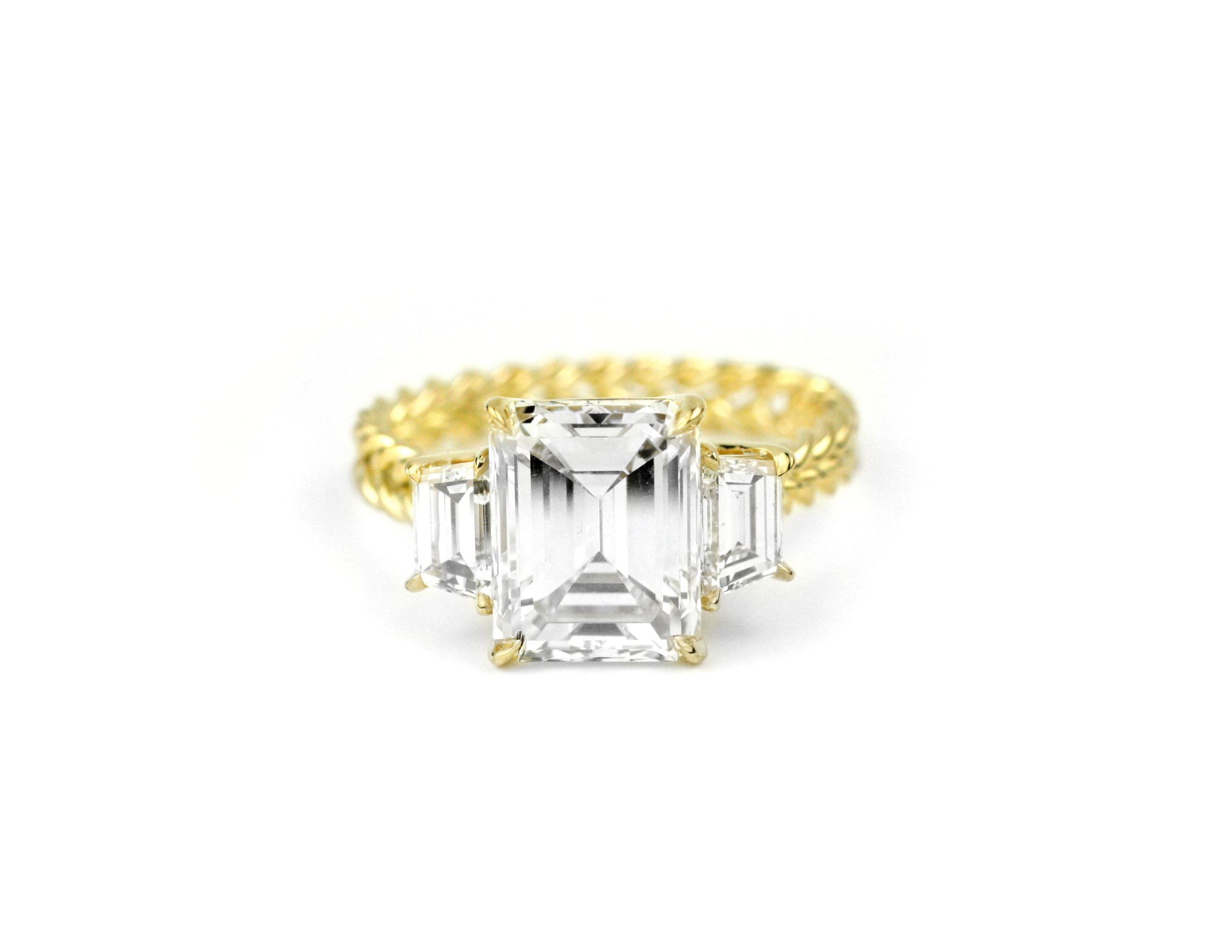 Emerald Cut Twisted Wire Ring