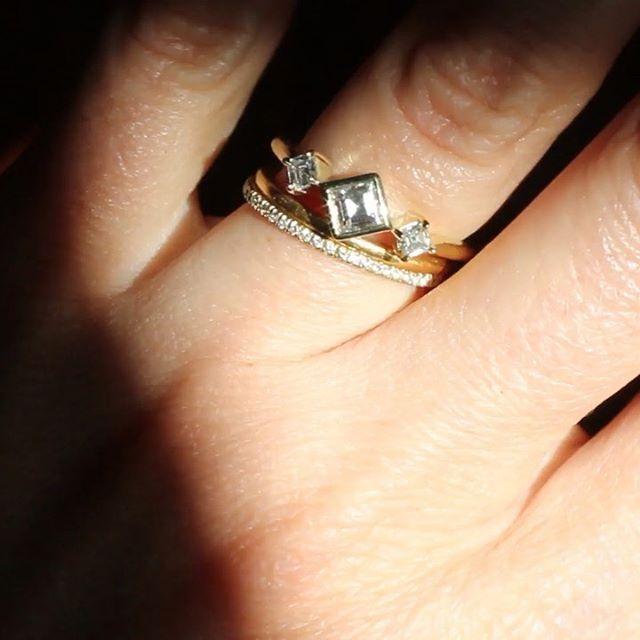 Magical New Square Diamond Ring!  Bezel set Square Diamond flanked by two prong-set Princess Cuts⠀ 🔹💎🔹 She's got some moves, this one...⠀ .⠀ .⠀ .⠀ .⠀ .⠀ .⠀ .⠀ .⠀ #18ktgold #squarediamond #princesscutdiamond #engagementring #threestonering #diamondring  #juliuscohen #madeinnewyork