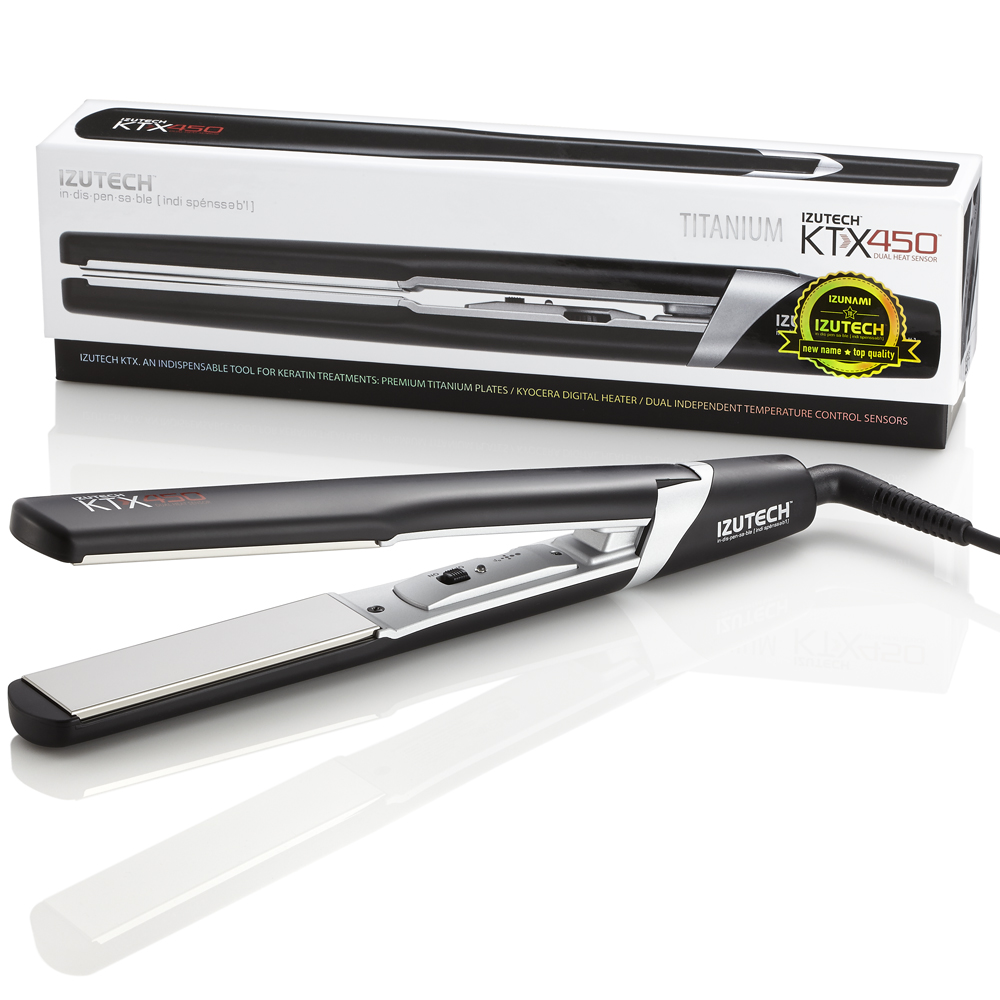 "IZUTECH KTX450™ Titanium has a long history of being recognized as the premium ""go to"" hair styling tool in salons worldwide. Due to the Pure Titanium Plates and Superior Sustainable Heater, its performance is unmatched when it comes to straightening speed and smoothing treatments."