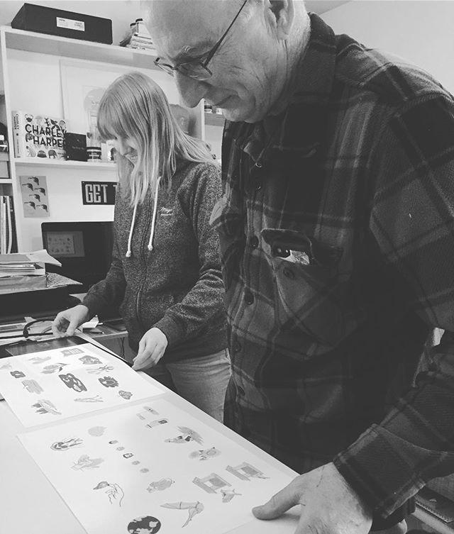 Mark Johnson aka @bark_johee gives @julianna_johnson's illustration a final critique before they're sent out to the client. #eagleeye #illustration #portlanddesign