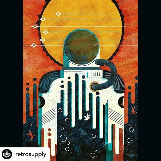 Awesome to see our spaceman over @retrosupply! We love their brushes and textures!  Posted @withrepost • @retrosupply Space Jam 👾 @kwathwine has a strong piece with this space themed print. Check out Kate using the Authentic Screen Printer's Toolkit.⠀ ⠀ Authentic Screen Printer's Toolkit has everything you need to add just the right amount of authenticity to your illustrations and screen printed art.⠀ ⠀ What would typically take four different resources to do, the Authentic Screen Printing Toolkit does with one.⠀ ⠀ The Authentic Screen Printing Toolkit is an all-in-one printing pack that helps you add textures in Illustrator and have it ready for clients or printers without any additional resources.⠀ ⠀ #retrosupply #retrosupplyco #digitalillustration #designtools #texture #graphicdesigngoods #dribbblers #adobe #illustratortools #vintage #retro