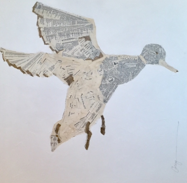 """""""flying"""" 30x30 mixed media Dictionary page series"""