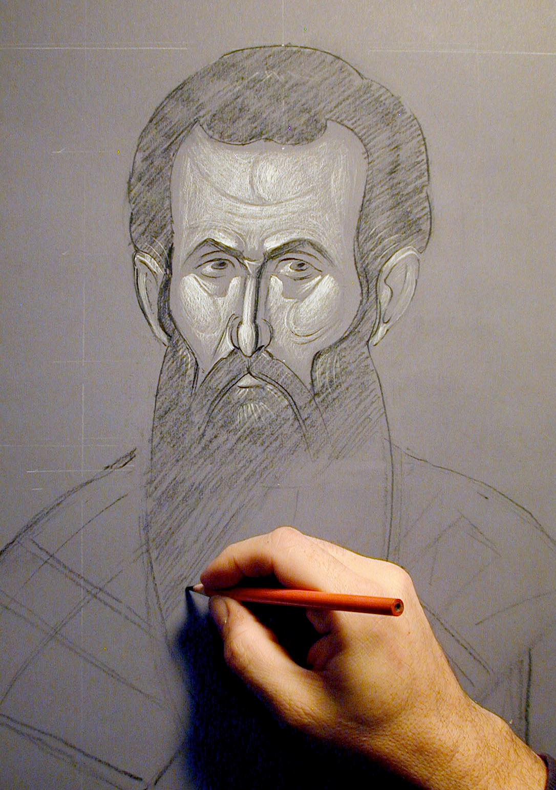Fig 2a.  A toned drawing, the cartoon for a fresco of St. Basil the Great.