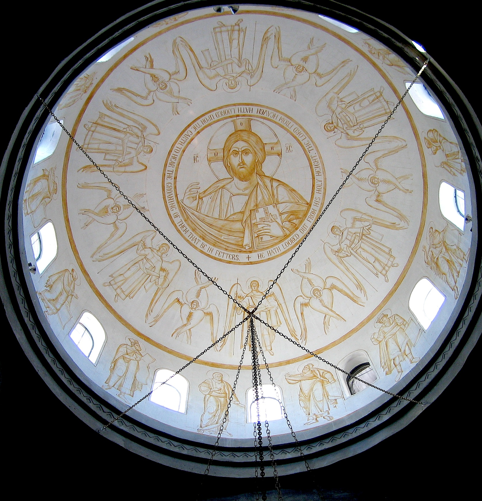 Fig 4.  The sinopia drawing of the dome: The Pantocrator surrounded by Angels and Archangels, the Prophets are shown in the drum below .