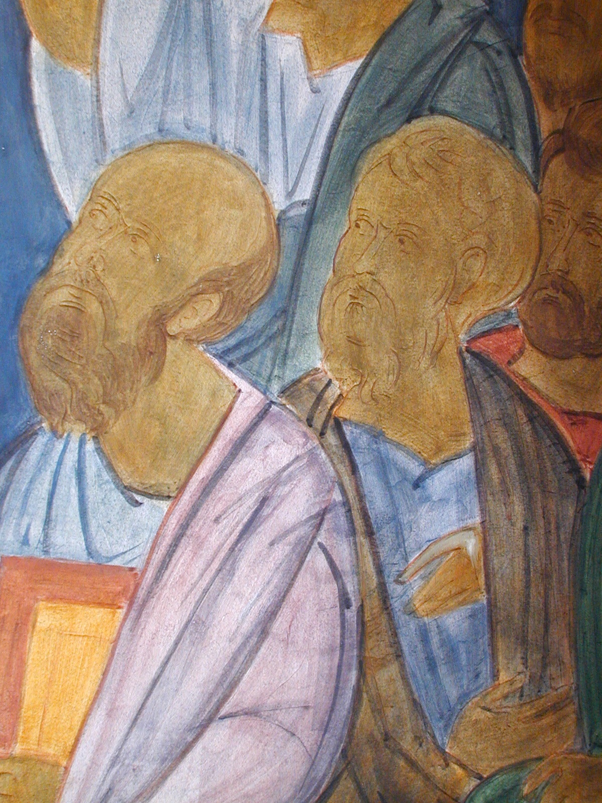 Fig 6.  Saints Paul and Matthew, Details from the Ascension. On the left, the figures have the base colors, lines, and shadows. On the right, the finished icon.