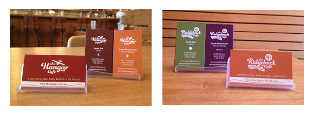 The Ridgeback and Hangar Cafe Business Cards