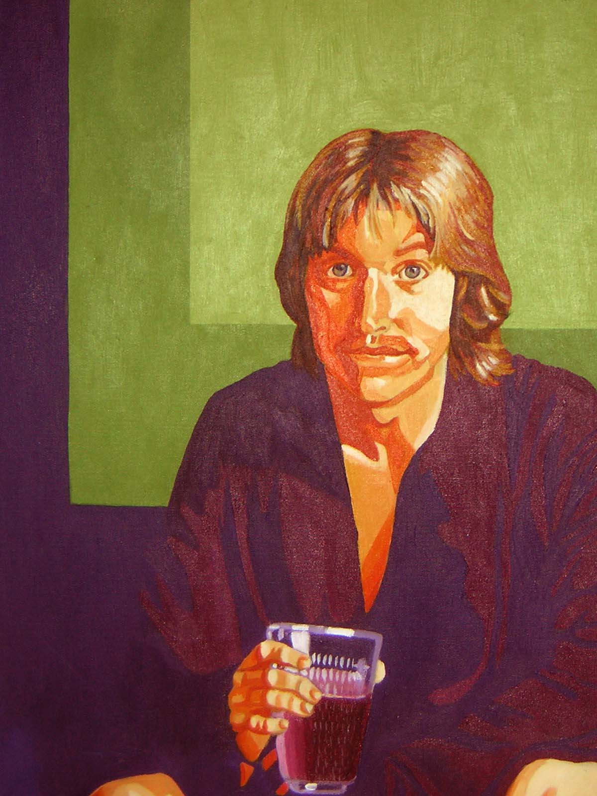 """""""Portrait of Dad in the 70's""""  Acrylic on Canvas  24"""" x 36"""""""