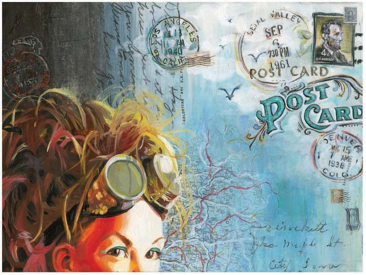"""Fantasies of Elsewhere""  Multimedia on Clayboard   24"" x 36"""