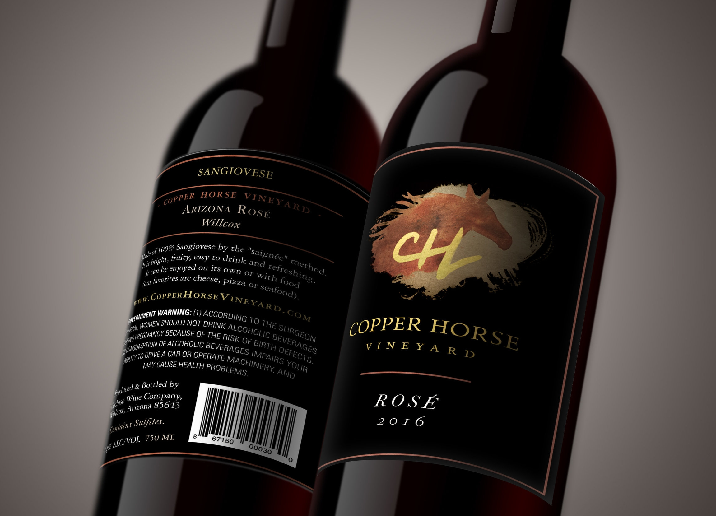 Mock up of the labels on the bottle