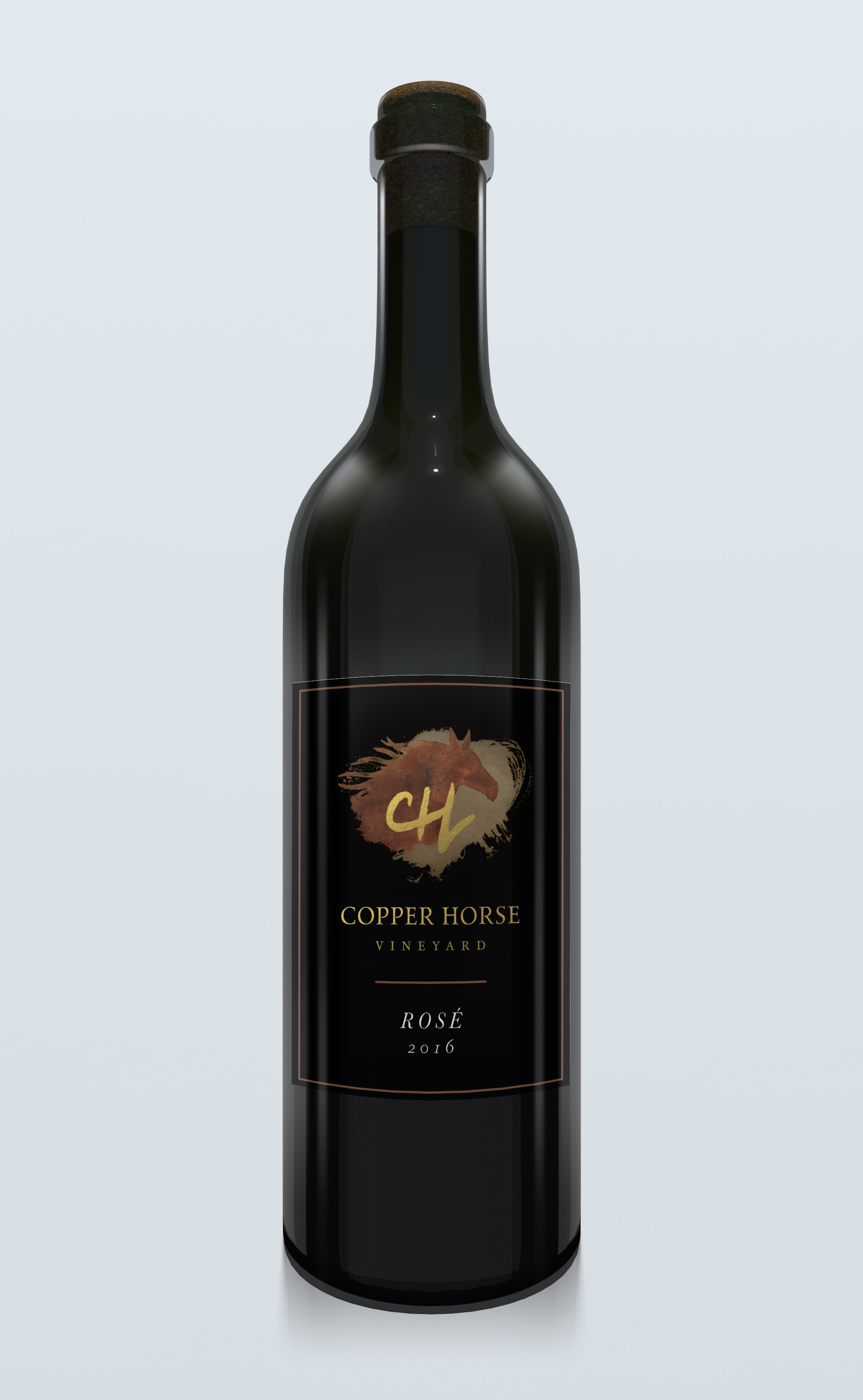 Mock up of the front label on the bottle