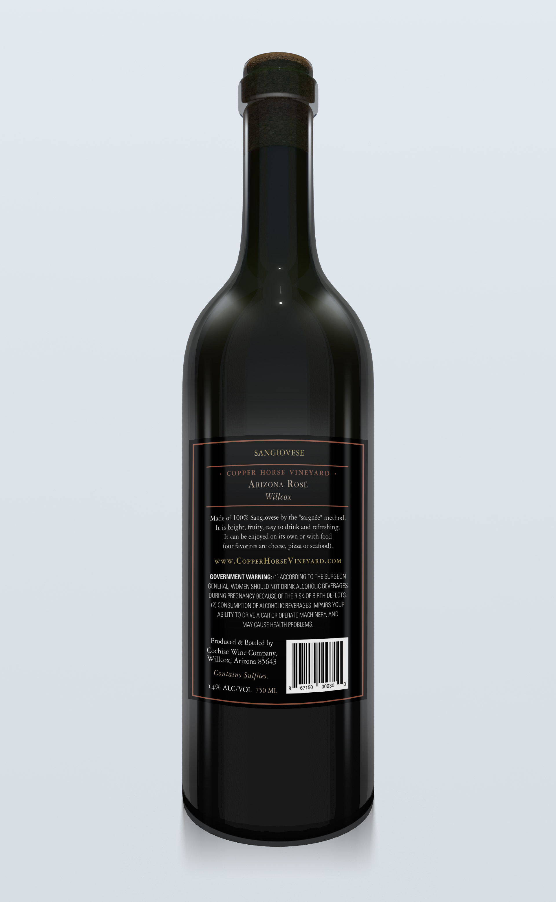 Mock up of the back label on the bottle