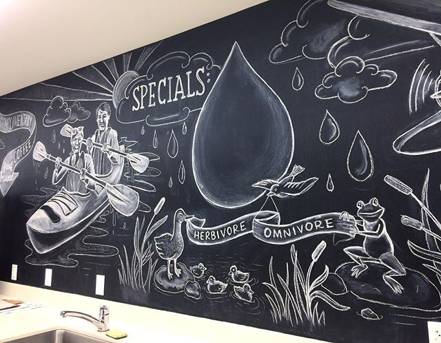 More chalk drawings for Allen institute cafeteria