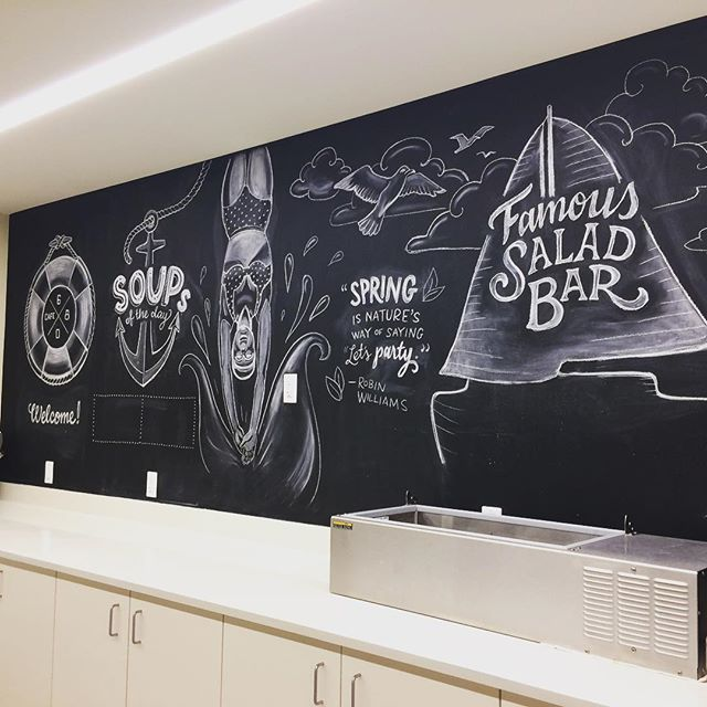 New chalk art for the Allen institute's cafeteria inspired by their gorgeous view of South lake union and spring.  Thanks @jessicalynnbonin for the referral!