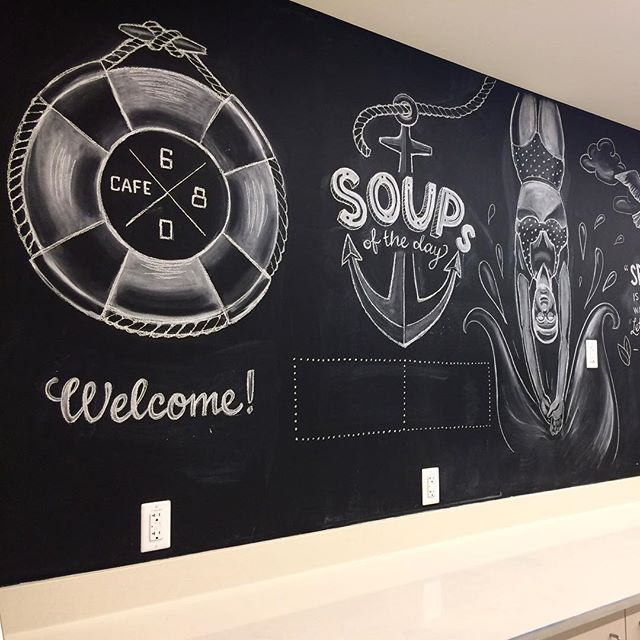 A view from the other side of chalk drawings for Allen institute cafeteria