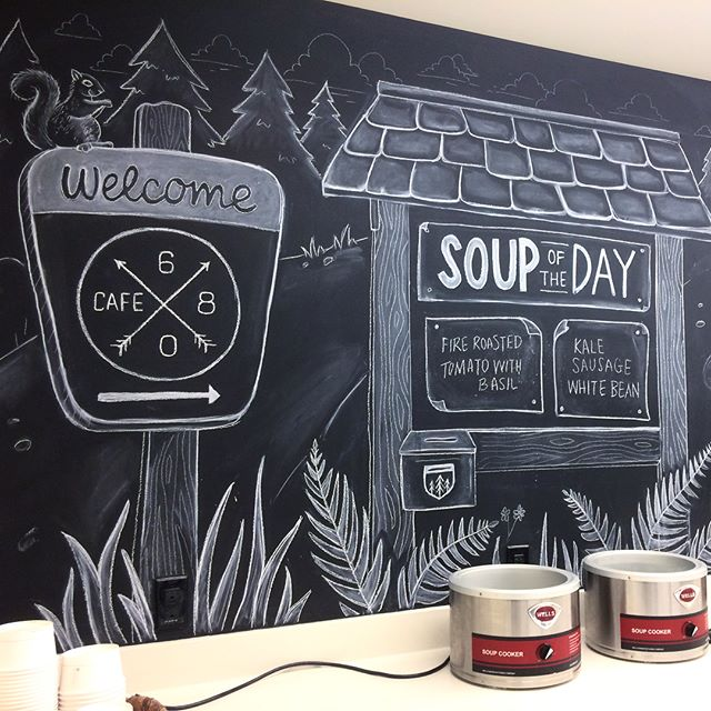 New cafeteria chalkboards for the Allen Institute with a hiking focus