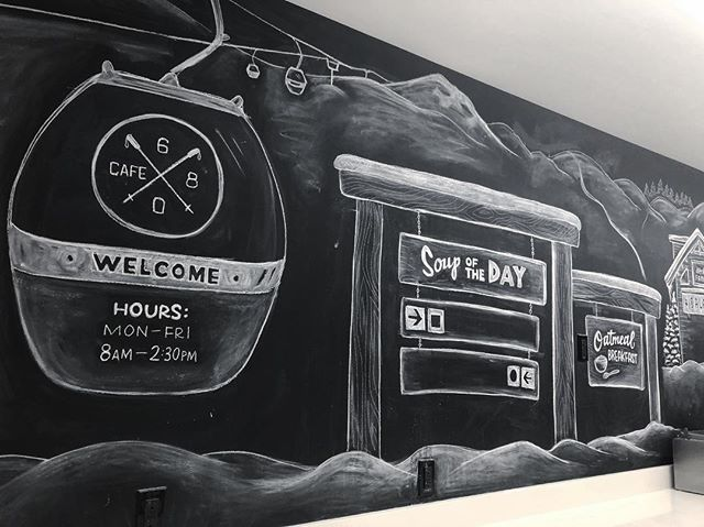 Cafe 680 chalkboard winter 2018 revision: snow sports. Big thanks to @alleninstitute  for having me back to make art in your beautiful building once again. Hope getting snacks in your cafeteria is that much more fun and helps do its little part to inspire the great work you do.