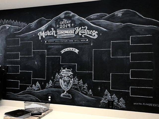 The 2019 March Madness update. Before and after + shots of the rest of the board in action. I think this is #3 for me. Excited to see what sandwich comes out on top this year. #marchsandwichmadness  #handlettering #chalkartist #chalkmural #chalkboardlettering