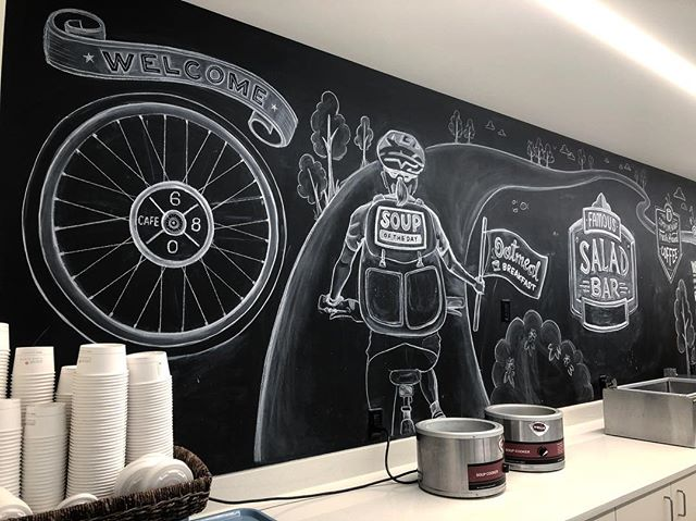 Summer Chalkboard update for #alleninstitute cafeteria. Had a fun time playing around with this bike theme.