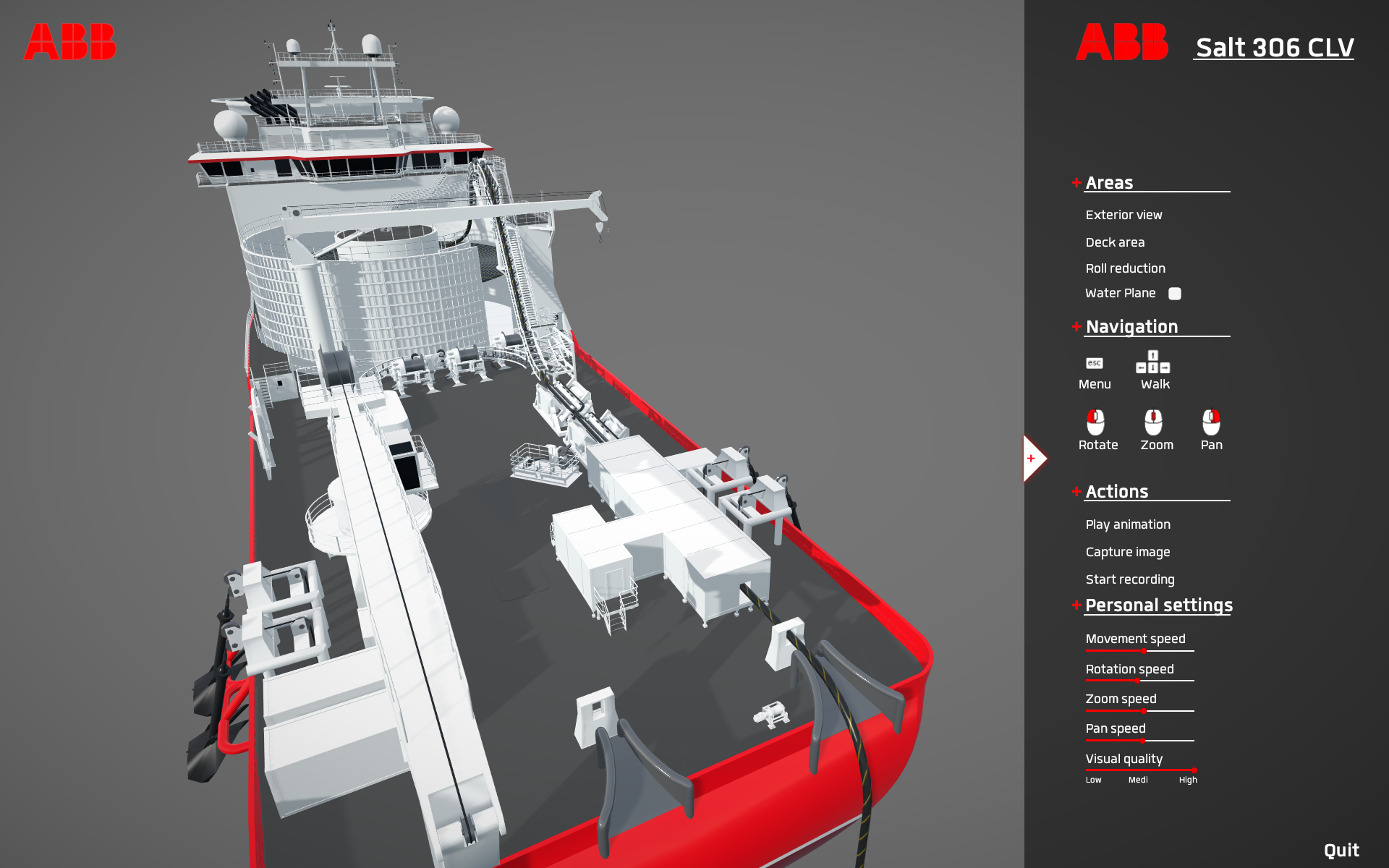 The exterior view of the ship. The user can zoom pan and rotate freely.