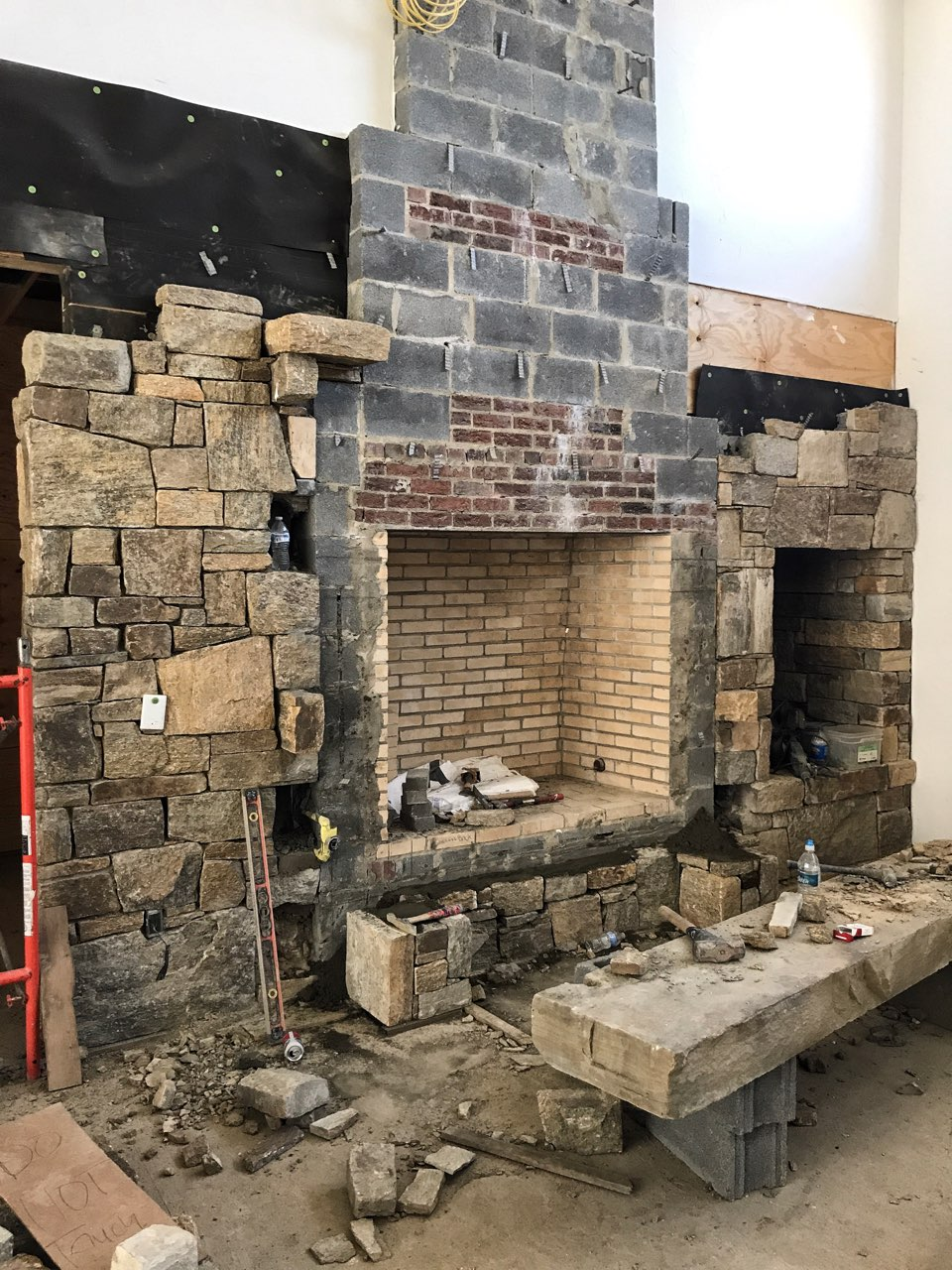 Custom designed fireplace under construction.