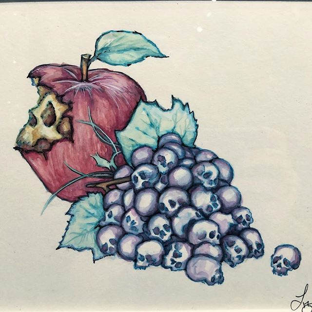 fruit of the doom. 💀🍎💀🍇💀 - - #imafruit #lillawebb #doodle #riseabv #drinkanddoodle #abvgallery #lillawebb #atlartists #artgallery #atlantaarts #atlarts #localartists #skullart #skulls #supportlocalartists #atlantaevents #weloveatl #atlanta #artevents #liveart #forbiddenfruit #rottenfruit