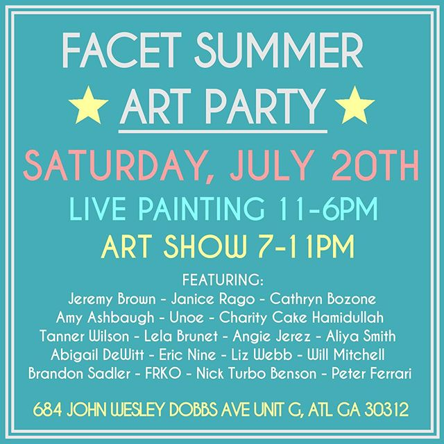 Do you like art and parties?! ✨✨✨✨✨✨✨✨✨ Saturday, July 20th - Come out to  Facet Gallery to watch us live painting during the day from 11-6PM followed by an art show 7-11PM 🎨🎨🎨👂🏼👁🧠👁👂🏼🎨🎨🎨 Gonna be fun, see you there!  @facetgallery  #atlanta #atlantaartists #atlarts #facetgallery #lillawebb #galleryshow #livepainting #artshow #painting #supportlocalartists #atlartist #artparty