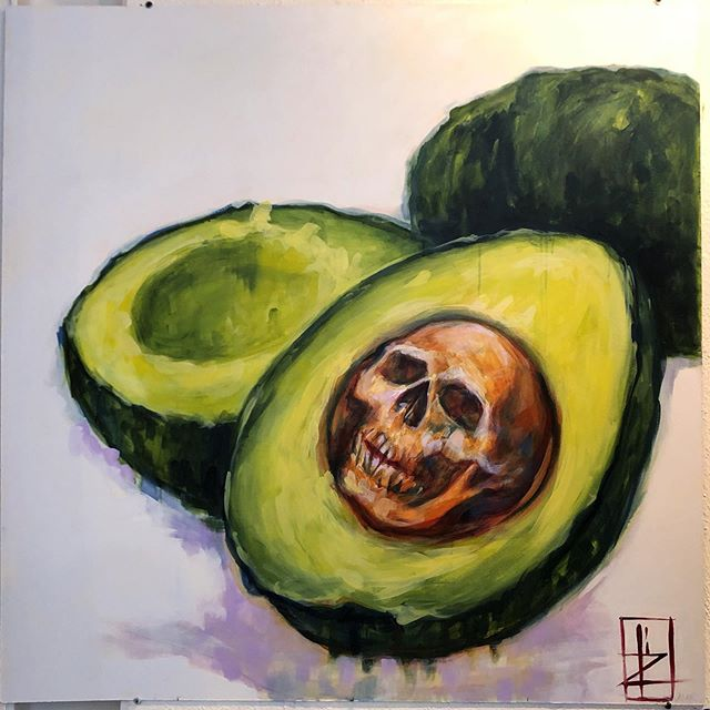 Avogodno! 🥑💀🥑💀🥑 . 48x48 Had a blast at @facetgallery live painting, thanks for hosting us! 🤘🏼Thanks to everybody who made it out to hang with the artists! Our pieces will be hanging on the gallery walls for a bit - so y'all can swing by and buy your favorite piece 😘  #lifesthepits #lillawebb #wherearetheavocados  #avocado #avocadotoast #facetgallery  #atlartists #artgallery #atlantaarts #atlarts #localartists #skullart #skulls #supportlocalartists #atlantaevents #weloveatl #atlanta #artevents #liveart #forbiddenfruit #rottenfruit