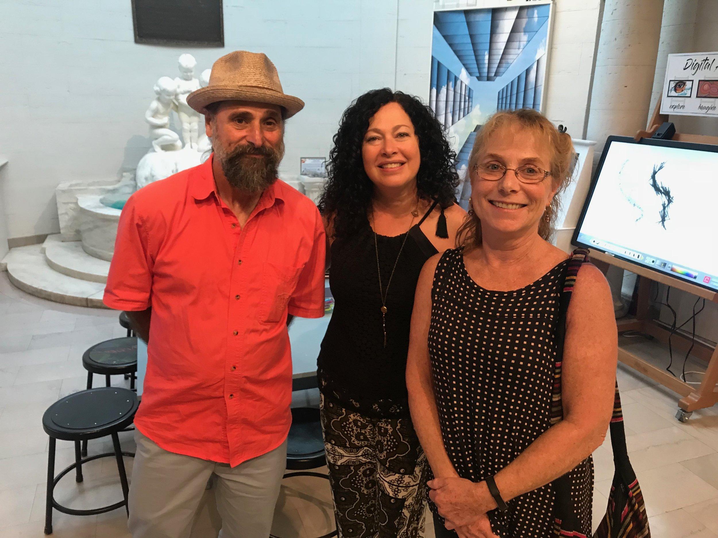 Artists John Cino and Rachelle Krieger with Heckscher Museum Curator Lisa Chalif