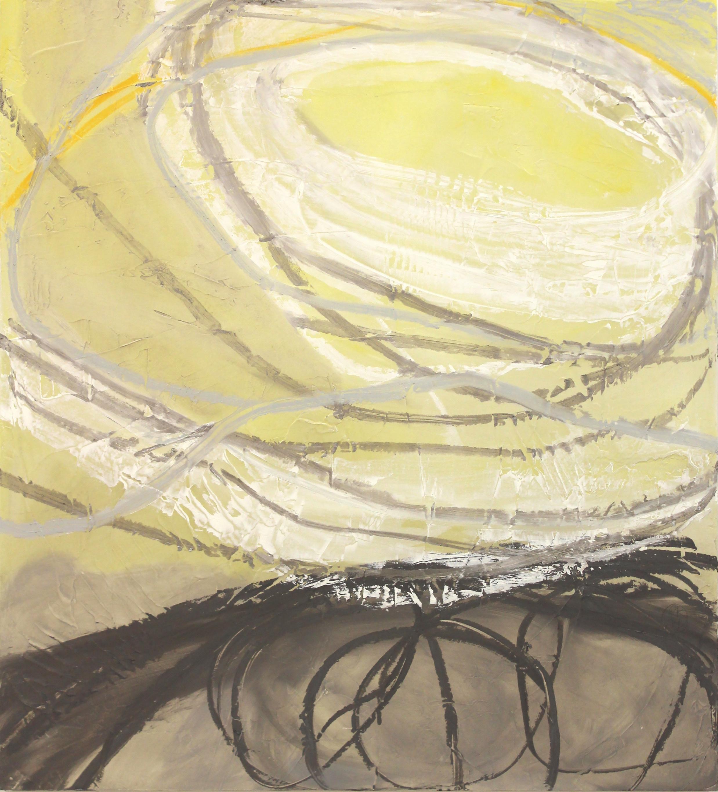 "Rachelle Krieger      Near Collision, III      2014, oil and graphite on wood panel 44""x40"""