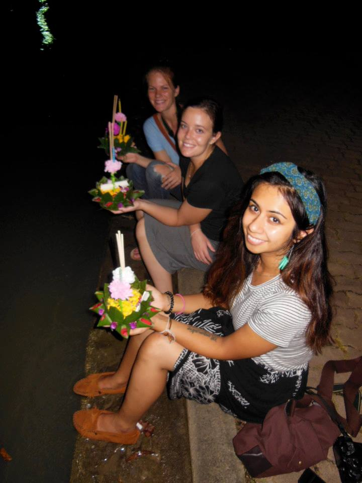 Our krathongs floated across the lake together and it was beautiful.