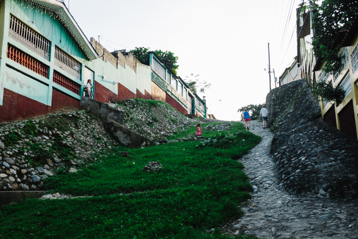 Looking up the hill in Cofradia, Honduras.