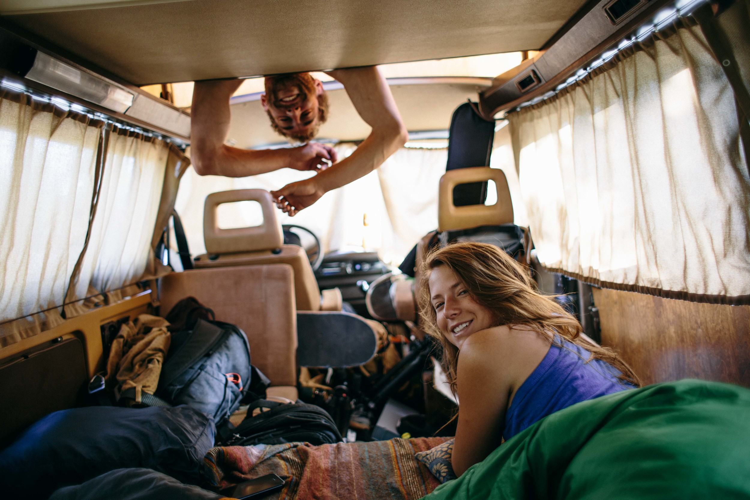 Every night's a slumber party in the van.