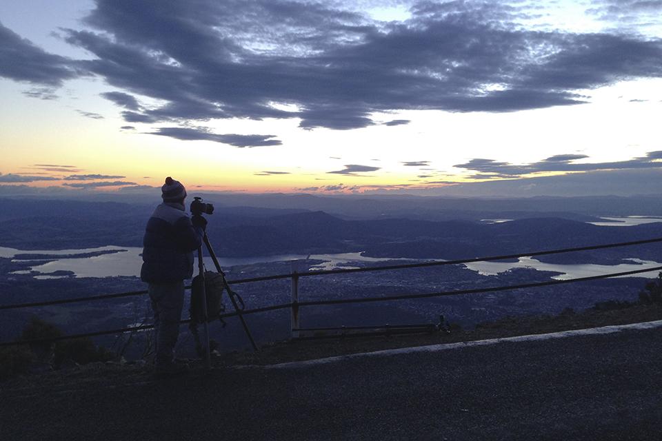 Dawn breaking over Hobart seen from the top of Mount Wellington.