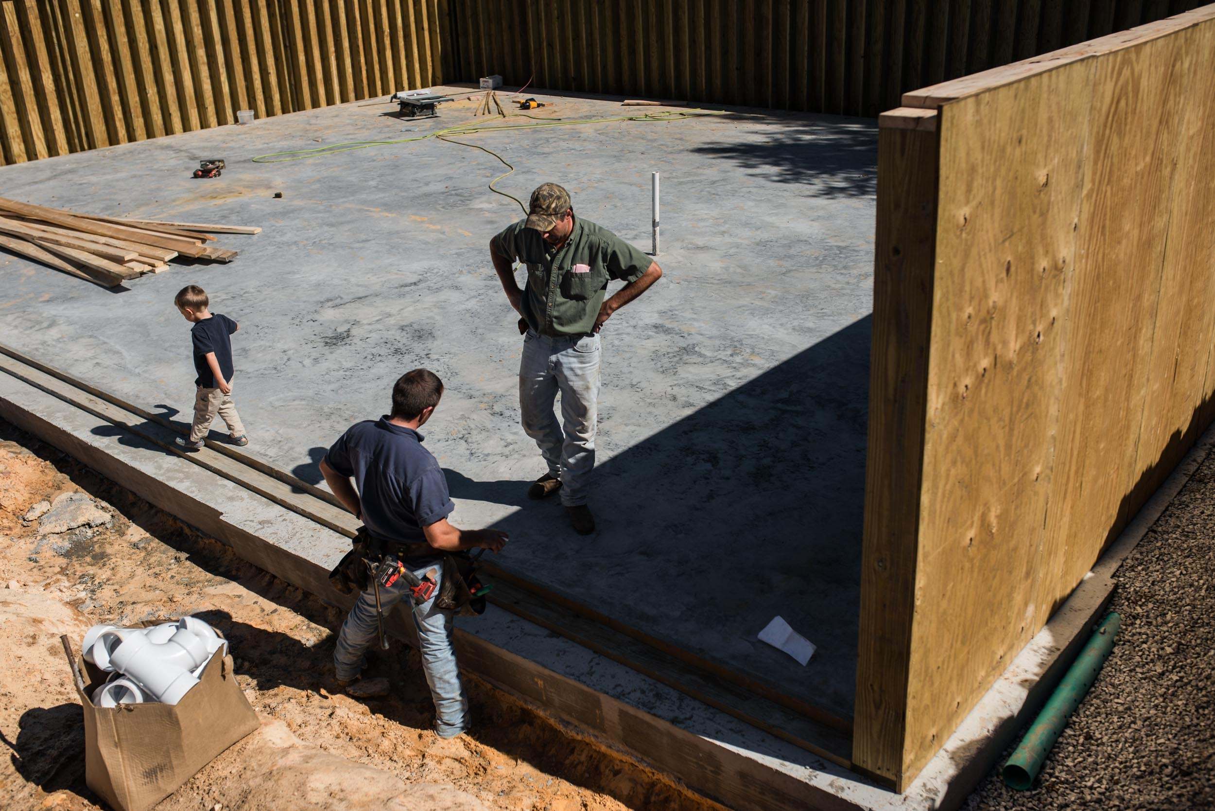 Framing is underway on the basement of their farm home. Nathan receives extra help from his brother David Mast, who sometimes brings several helping hands with him from the Nathan's former community in Summersville.